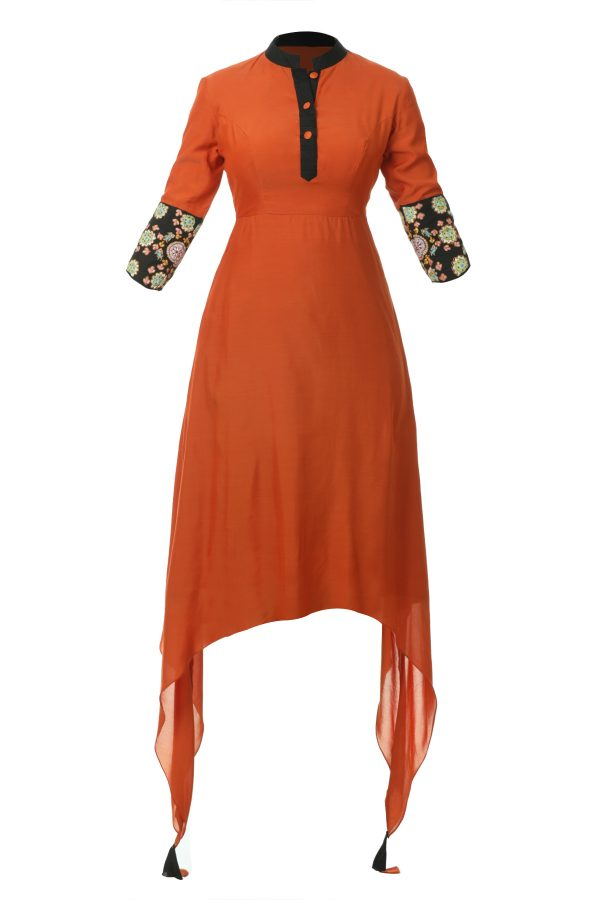 Buy this captivating Orange   Black Embroidered Tunic to look stunning