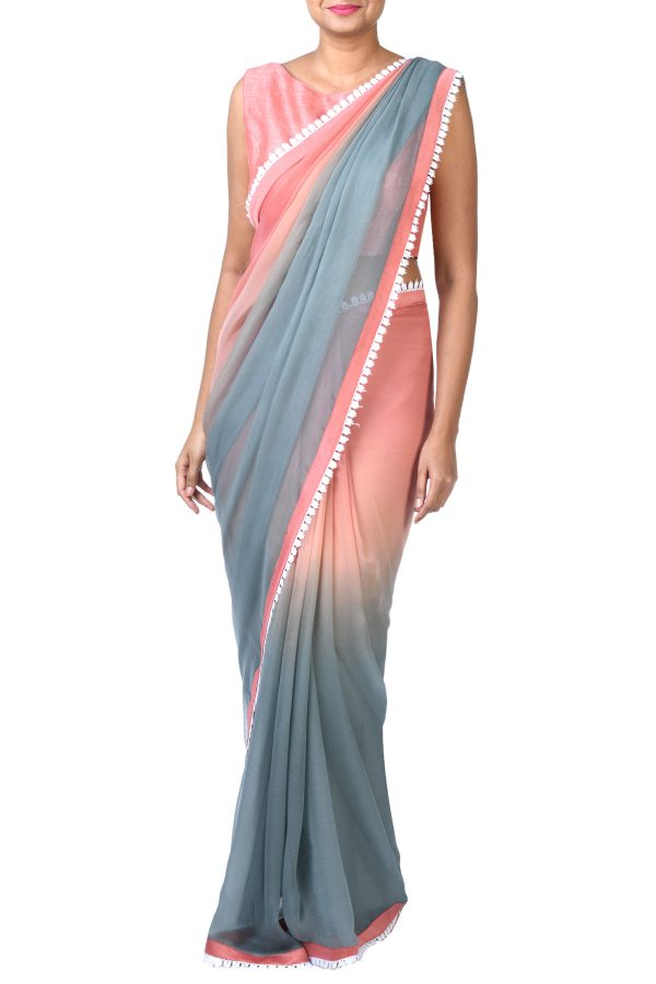 3c688c30525 Onion Pink Sleeveless Blouse With Grey And Onion Pink Chiffon Ombre Saree